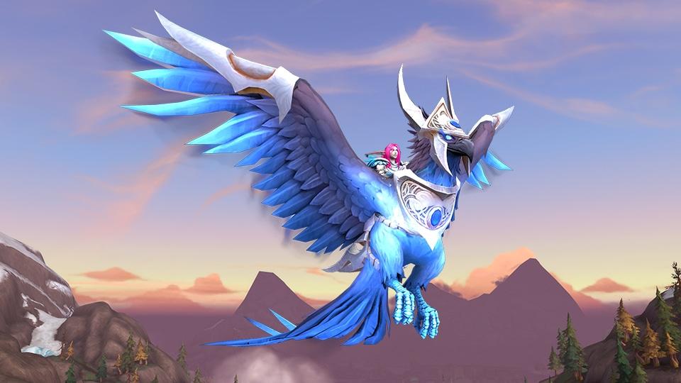 Elfo de la noche volando a lomos de la montura surcador del cielo de zafiro