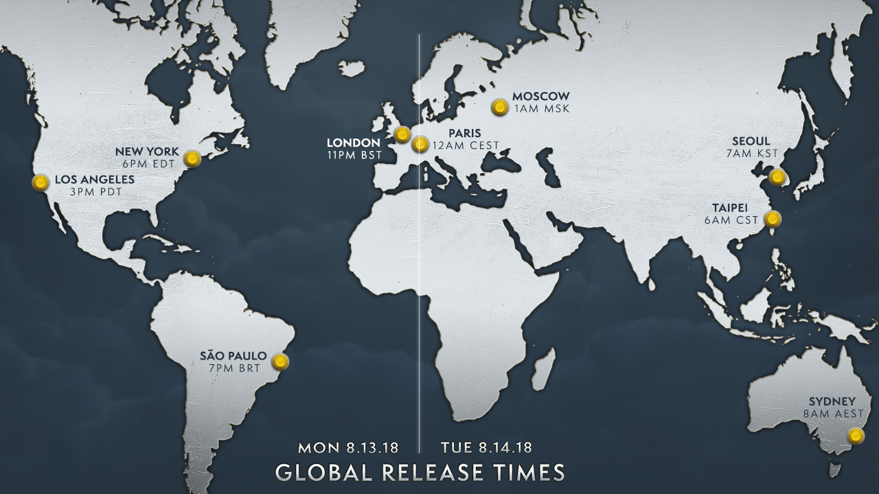 Global launch time zone map