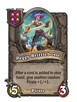 Peggy Brittlebone has 5 attack and 3 health.