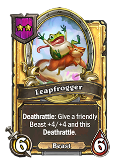Golden Leapfrogger health and attack are double, card text reads Deathrattle: Give a friendly Beast +4/+4 and this Deathrattle.