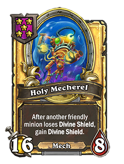 Golden Holy Mecherel has double health and attack with the same card text as the regular version.