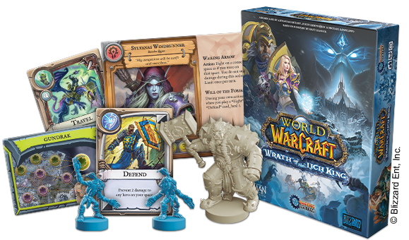 Close-Up Image of Box, Character Figurines and Game Cards