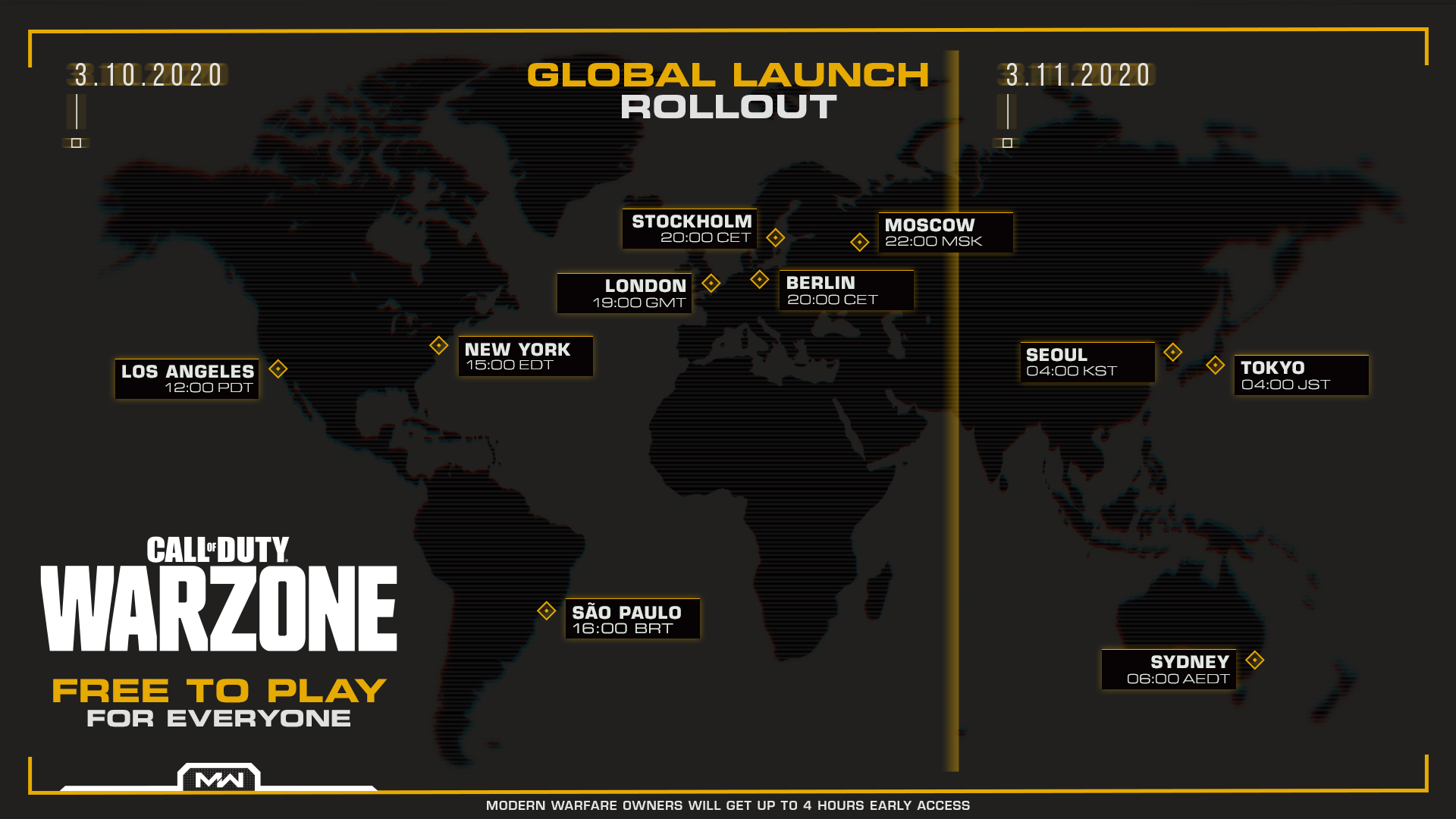 Call of Duty Warzone Launch Day Global Rollout. March 10: Los Angeles 12:00 PDT, New York 15:00 EDT, Sao Paulo 16:00 BRT, London 19:00 GMT, Stockholm 20:00 CET, Berlin 20:00 CET, Moscow 22:00 MSK. March 11: Singapore 03:00 SGT, Seoul 04:00 KST, Sydney 06:00 AEDT