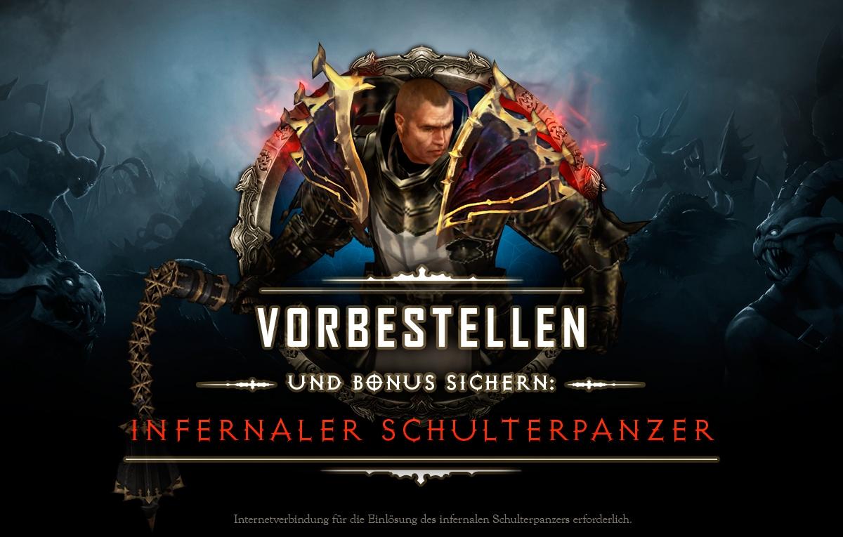 Jetzt vorbestellen und Bonus sichern: Inernaler Schulterpanzer! Internetverbindung zum Einlösen des Infernalen Schulterpanzers wird benötigt.