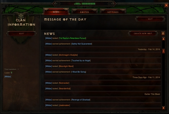 Diablo 3 Clan information
