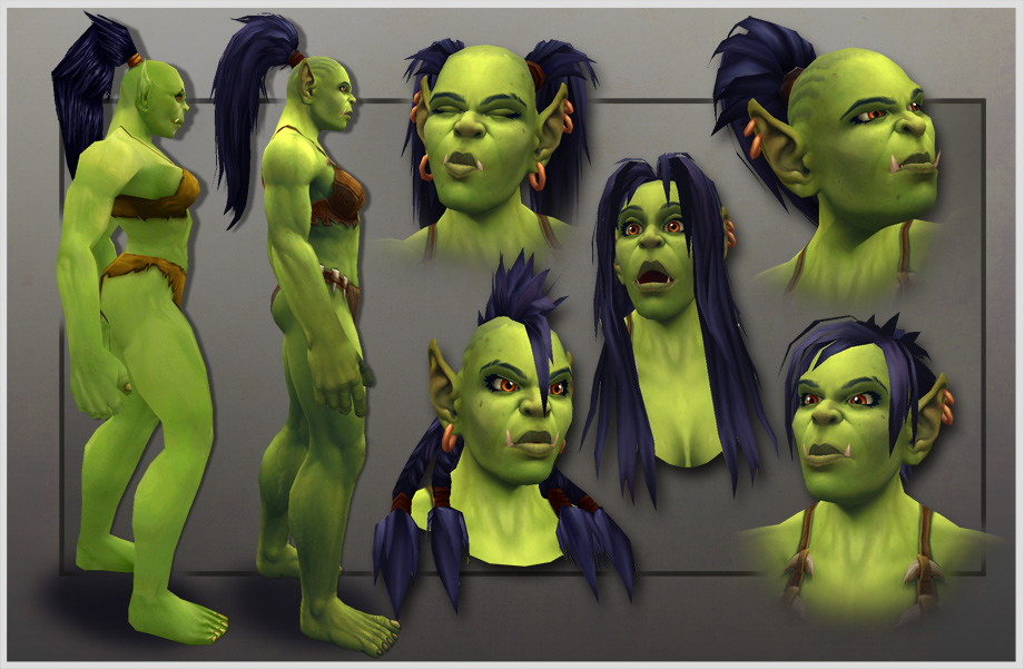 orc female character model revamp facial expressions