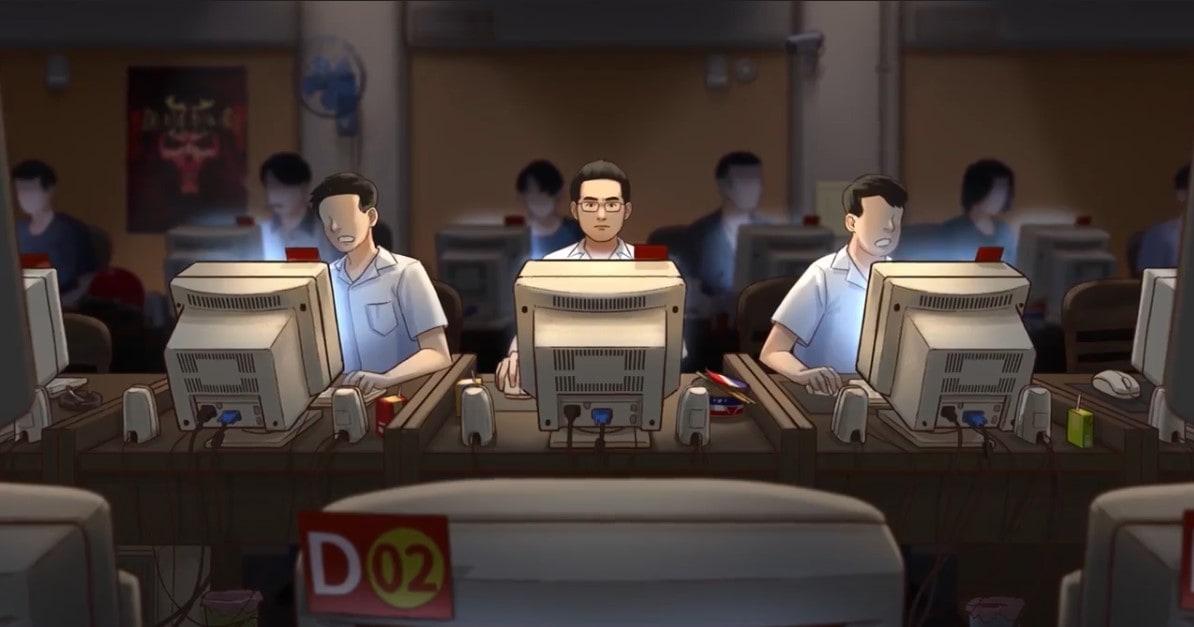 六嘆在網咖玩暗黑的彩圖