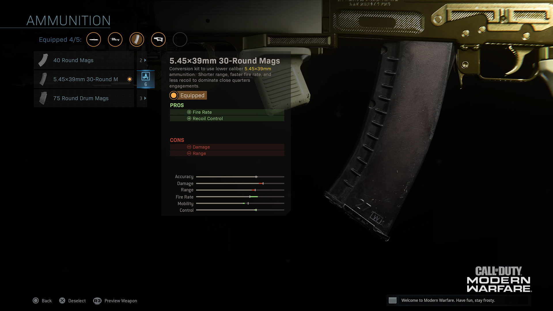 Example of Selectible Weapon Skins
