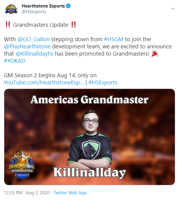 HSEsports Tweet announcing that Killinallday was replacing Gallon in Americas Grandmasters