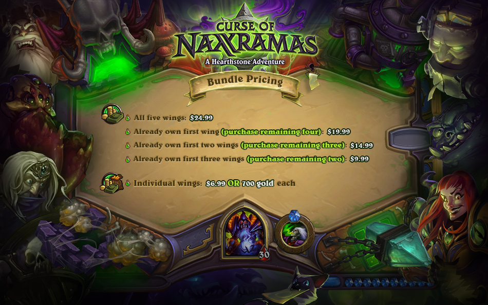 Price Details for Curse of Naxxramas: $7 or 700 Gold