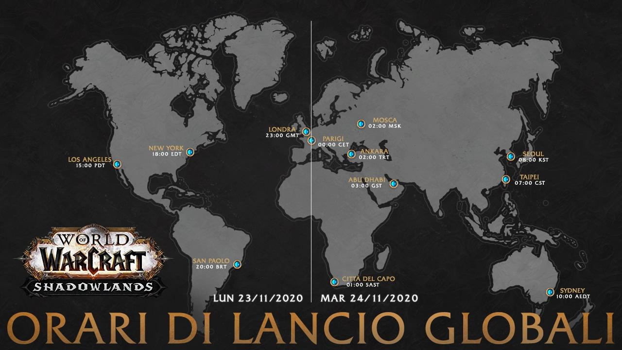Mappa della pubblicazione globale di Shadowlands