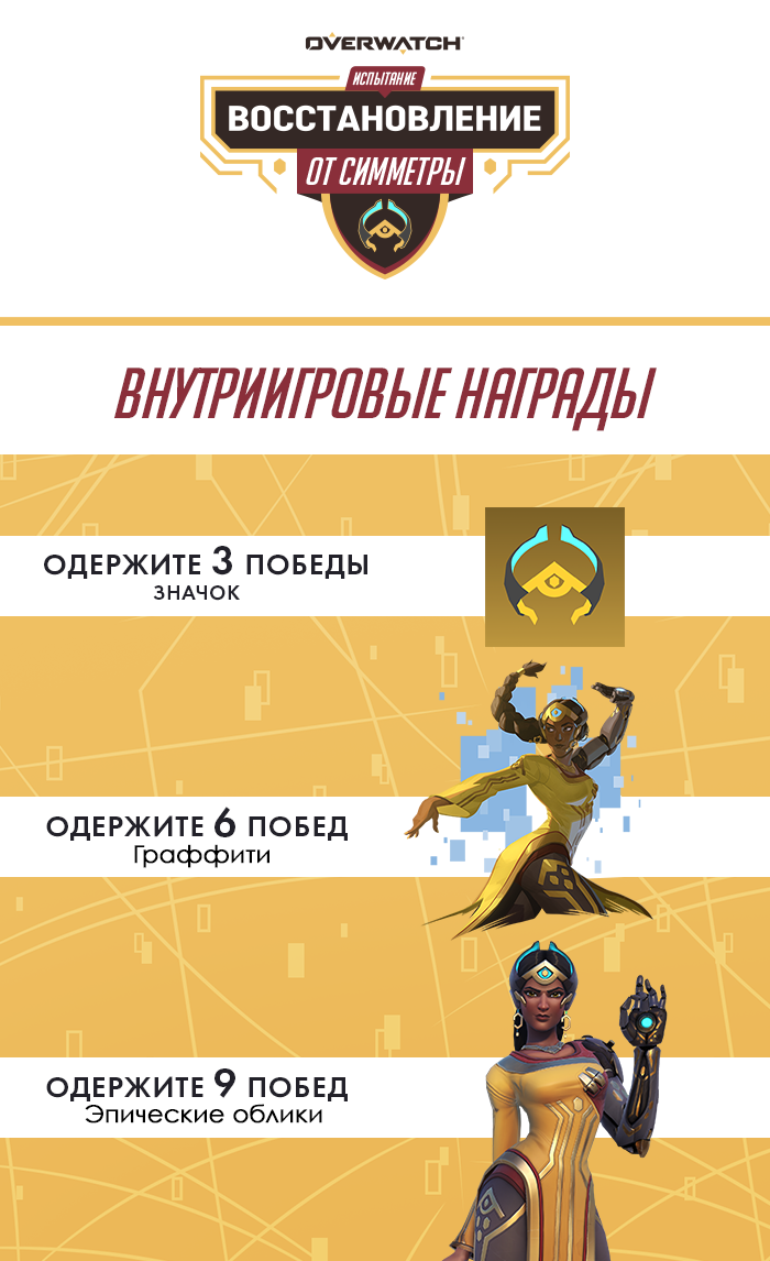 Symmetra's Restoration Challenge In-Game Rewards. 3 wins unlocks a Player Icon, 6 wins unlocks a Spray, 9 wins unlocks the epic Marammat Symmetra skin