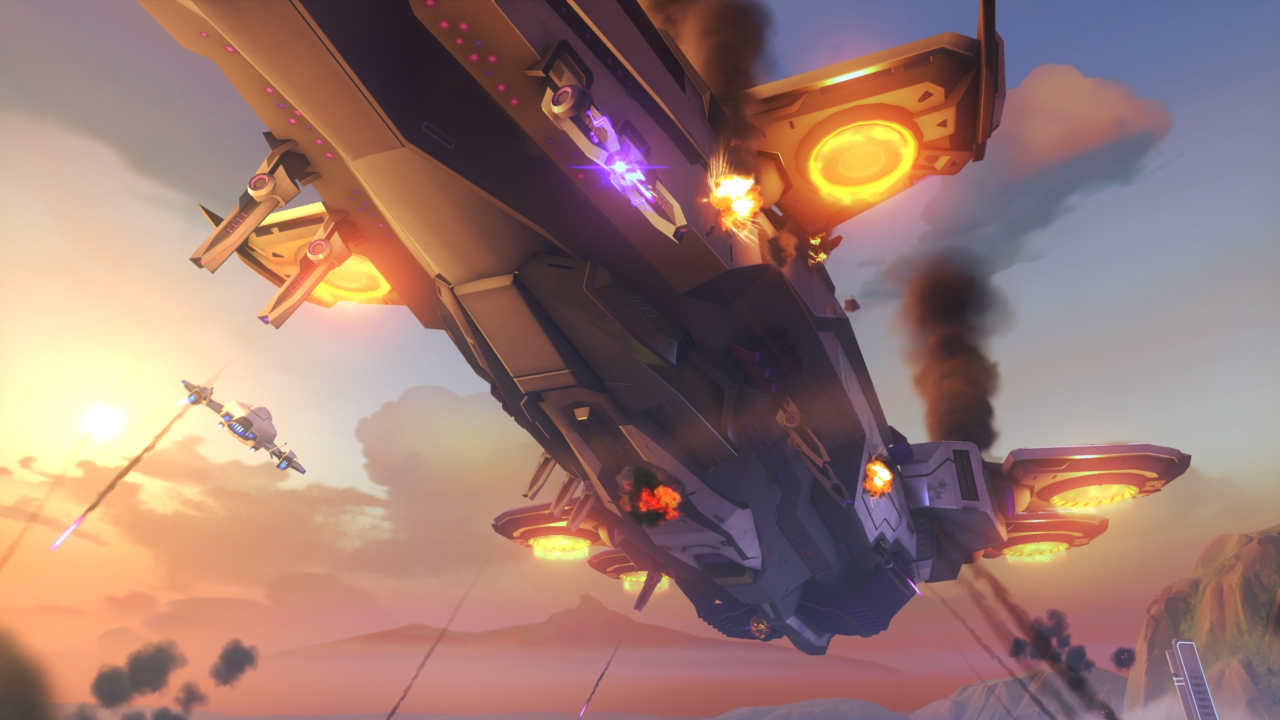 An omnic carrier in the sky about Rio, showcased in the BlizzCon 2019 build of Overwatch 2.