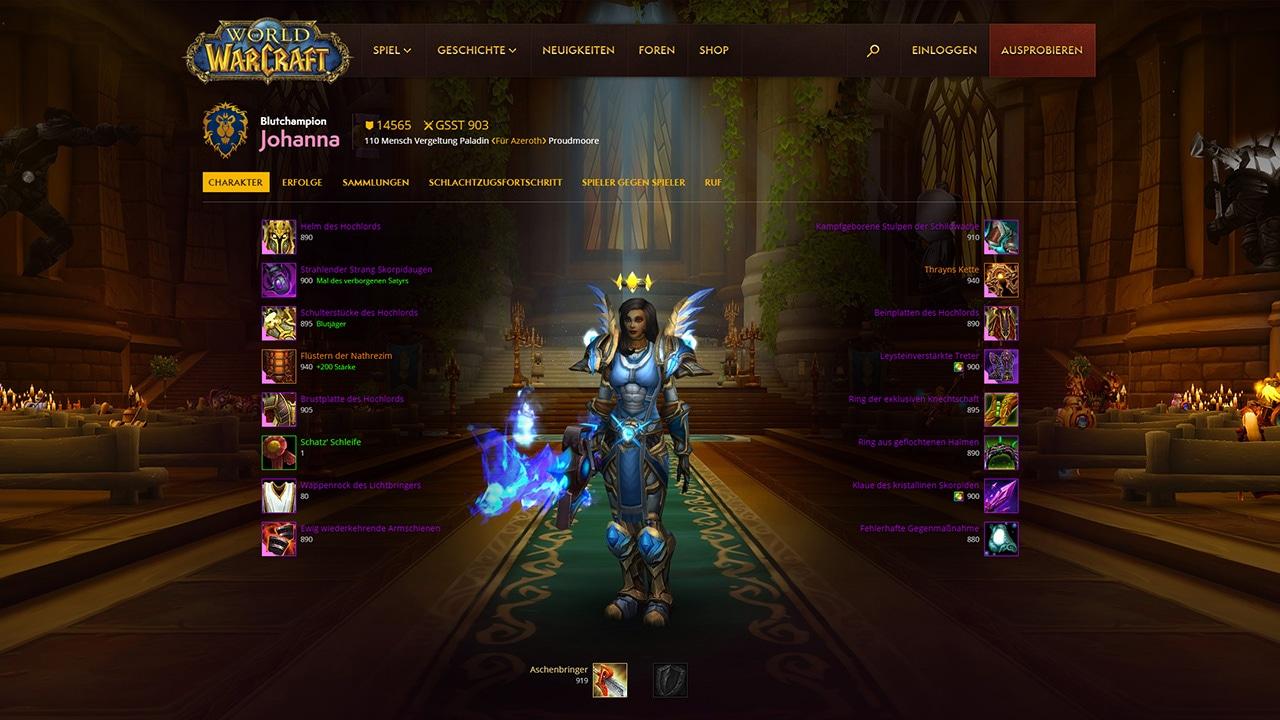 Wow Profilseite