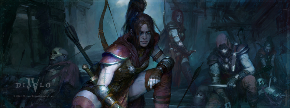 Artwork of the Rogue class from Diablo IV