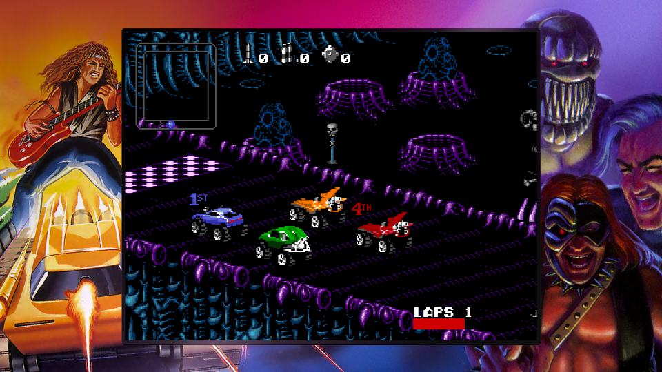 Capture d'écran de Rock N Roll Racing issue de la Blizzard Arcade Collection