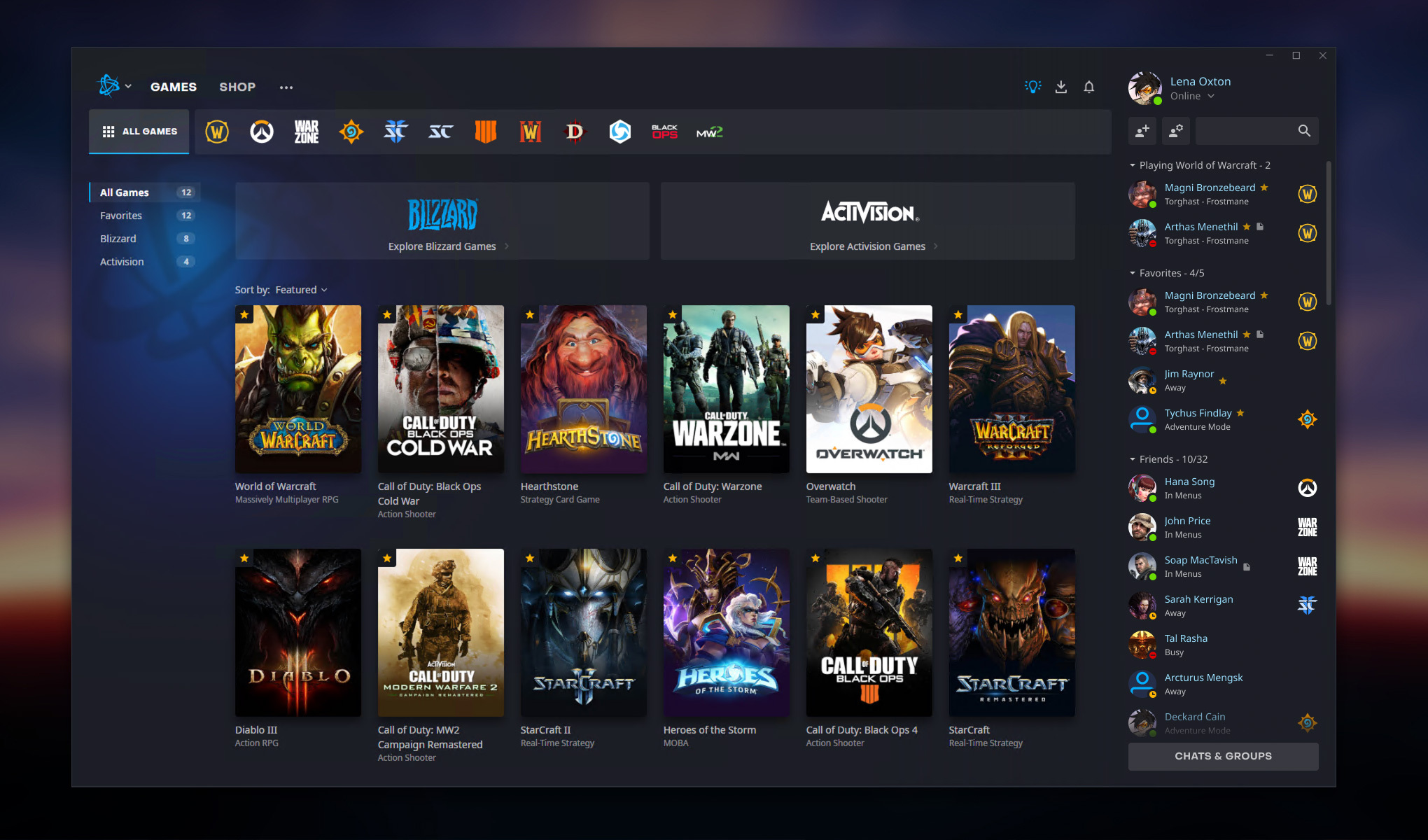 The New Battle.net All Games Menu