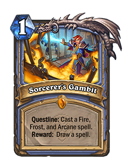 Sorcerer's Gambit is a 1 mana legendary Mage spell that reads questline: cast a fire, frost, and arcane spell. Reward: Draw a spell.