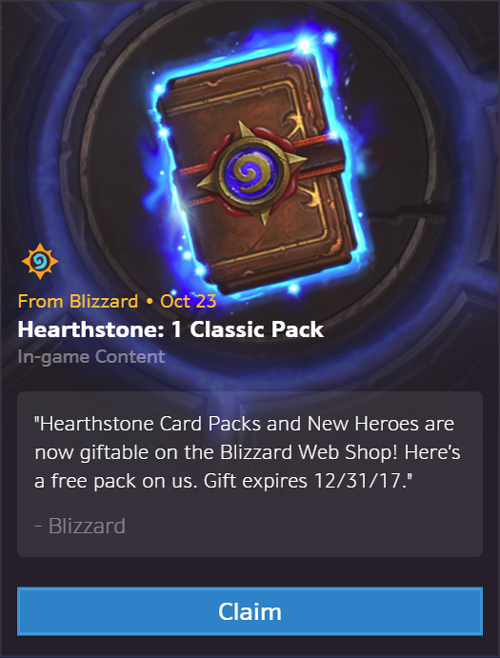 Get your Free Classic Pack - Hearthstone Packs and Heroes are now