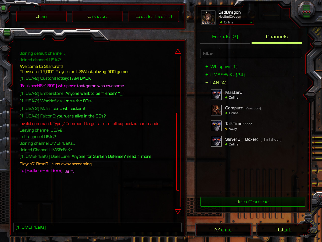 ca02f50e697 In addition to classic chat commands and functionality, StarCraft:  Remastered connects to your Blizzard Friends list, making it easier to find  and join ...