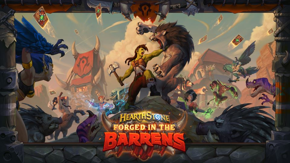 A battle breaks out in artwork from Hearthstone: Forged in the Barrens