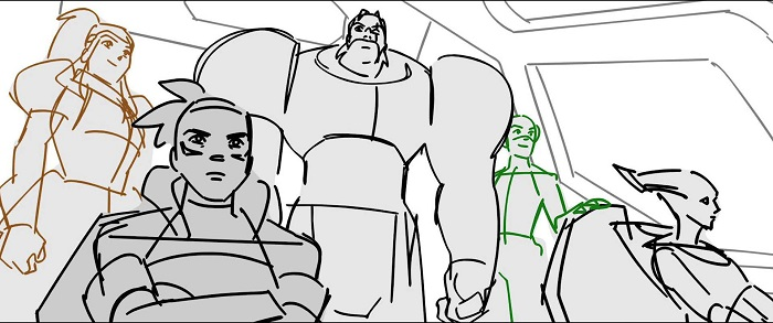 Overwatch 2 storyboard showcasing multiple heroes in the cockpit of a jet.