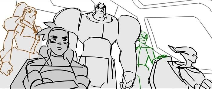 Lo storyboard di Overwatch 2 che mostra diversi eroi nella cabina di comando di un jet.