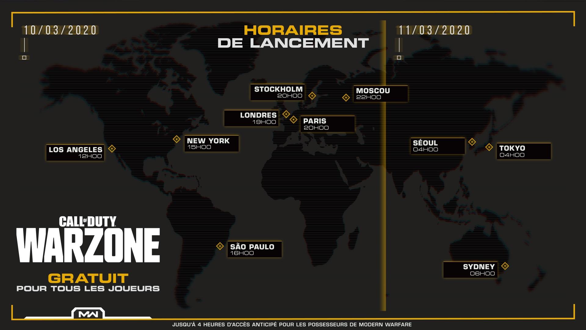 Carte des dates de sortie dans le monde