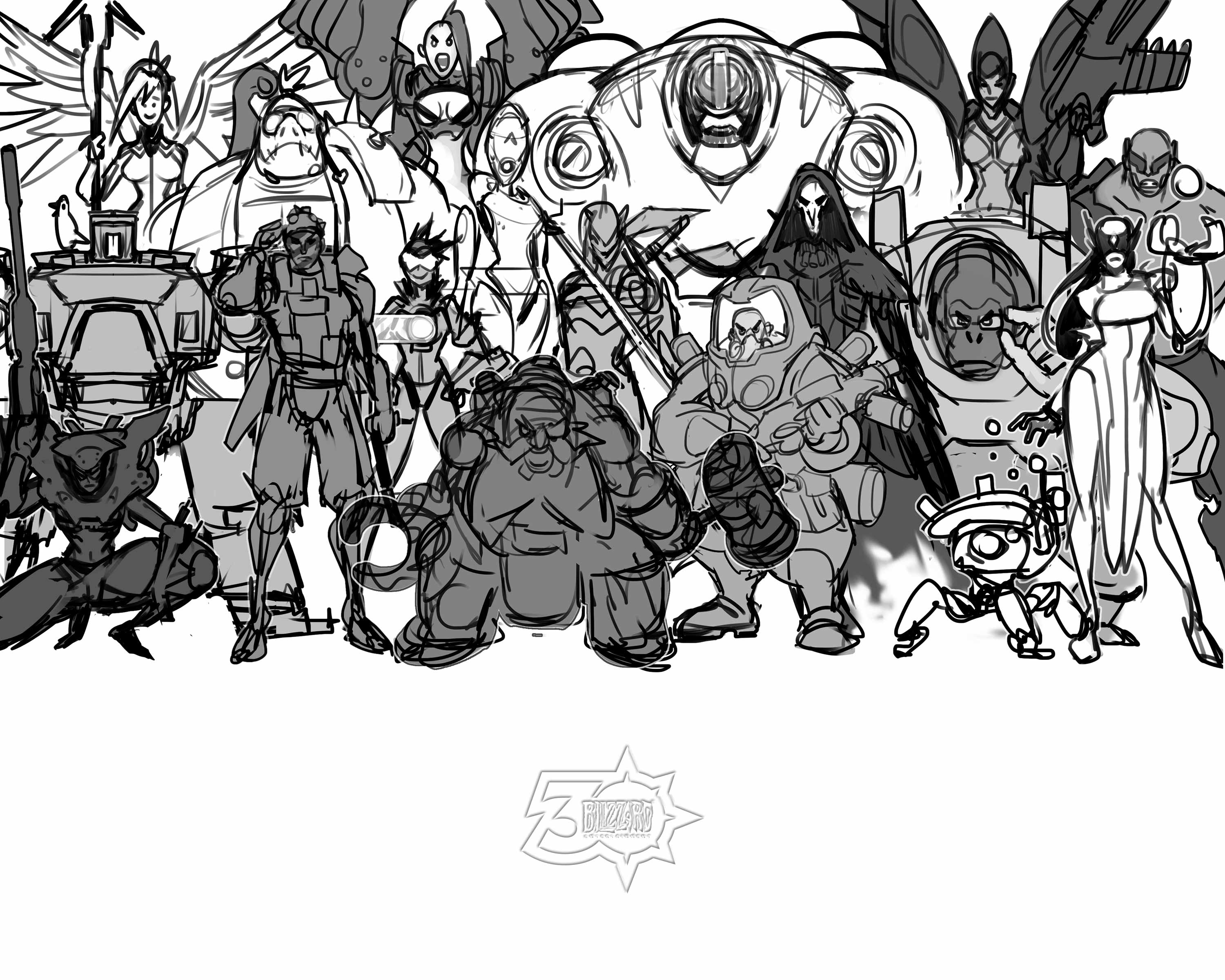 """1a. Overwatch Original Sketch Concept Art Print 10"""" x 8"""", From the Vault - Limited Release.jpg"""