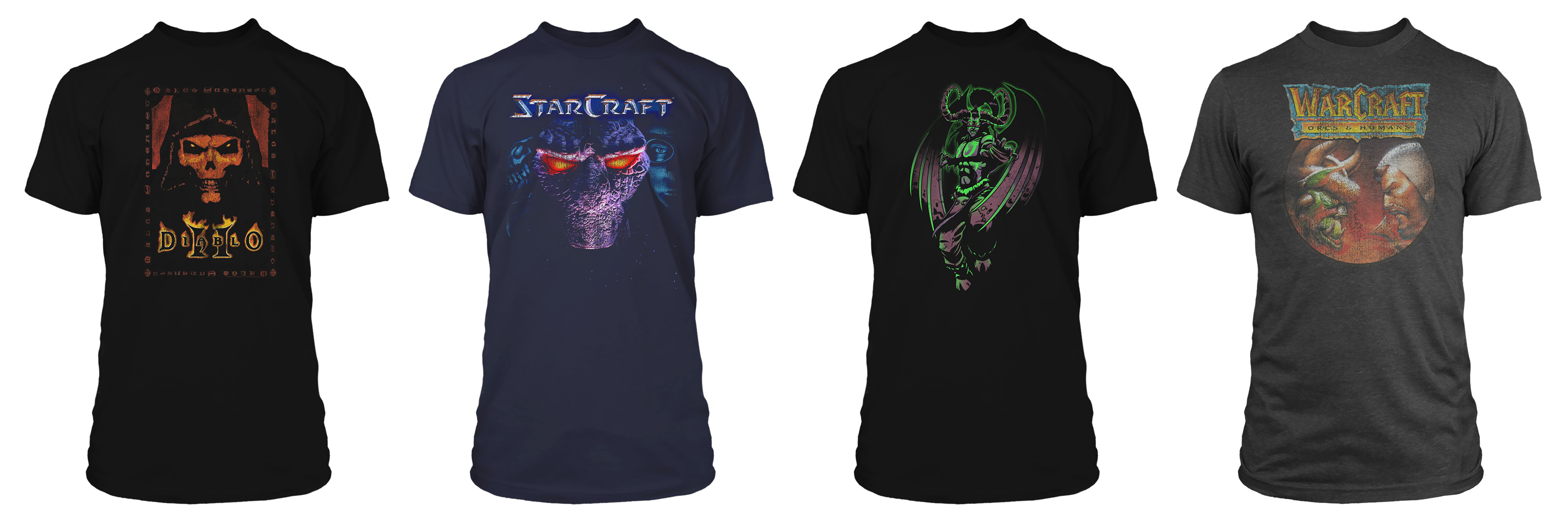 Four of the classic Diablo, Warcraft, and StarCraft T-shirts available in the Blizzard Gear Store