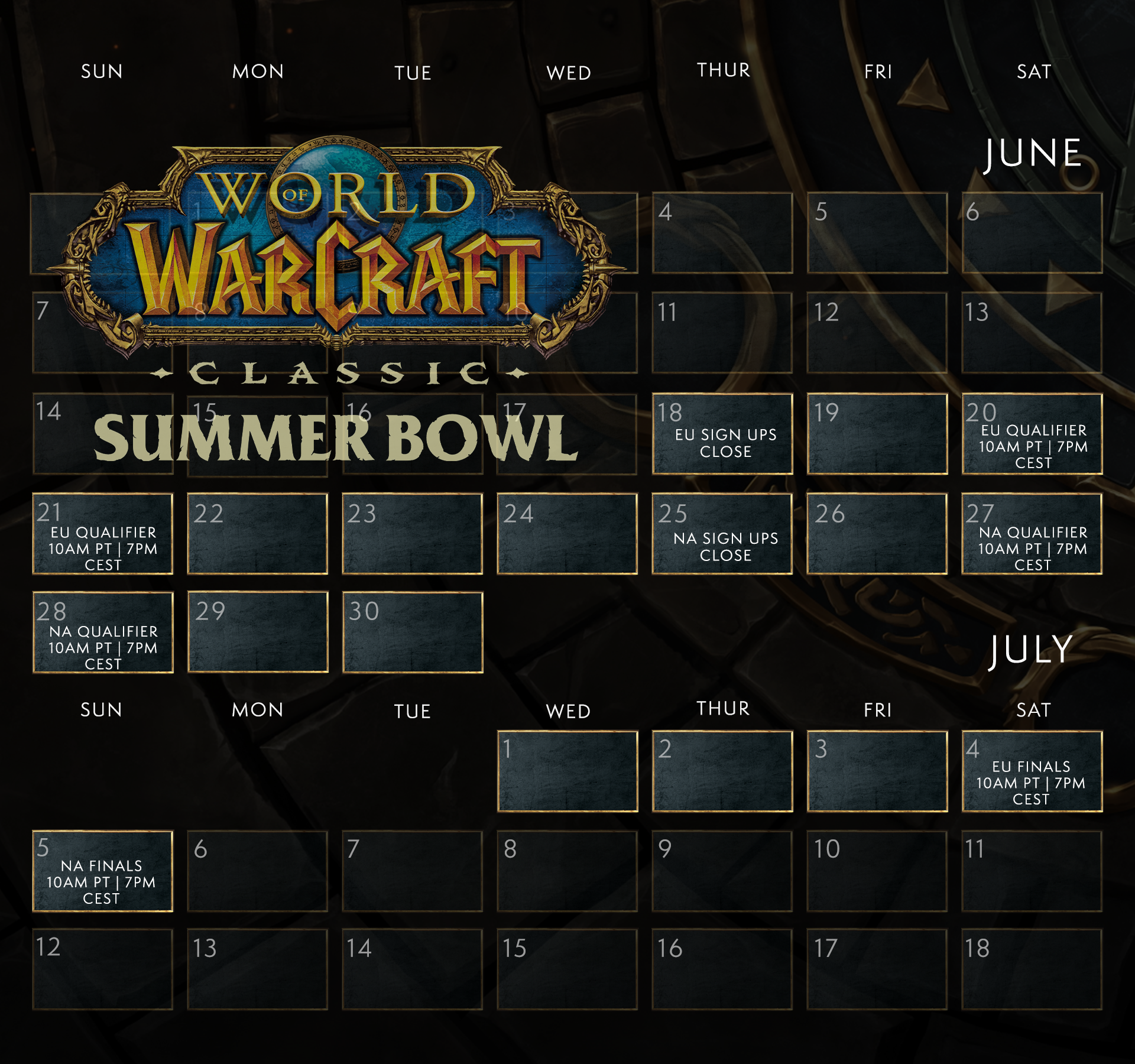 Schedule of the Summer Bowl: EU Sign ups close 6/18, EU Qualifiers 6/20-6/21, NA Sign ups close 6/25, NA Qualifiers 6/27-6/28, EU Finals 7/4, NA Finals 7/5