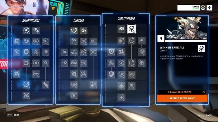 Un'immagine dell'albero dei talenti di Junkrat in Overwatch 2.
