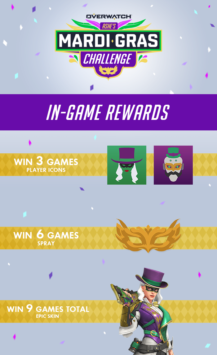 Ashe's Mardi Gras Challenge In-Game Unlocks
