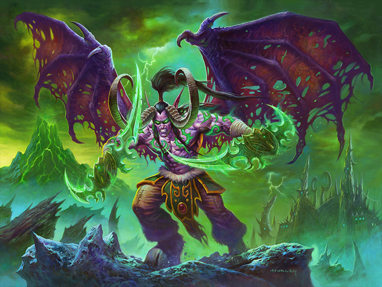 Illidan Stormrage Art - Wings spread wide, glaives out, appearing menacing