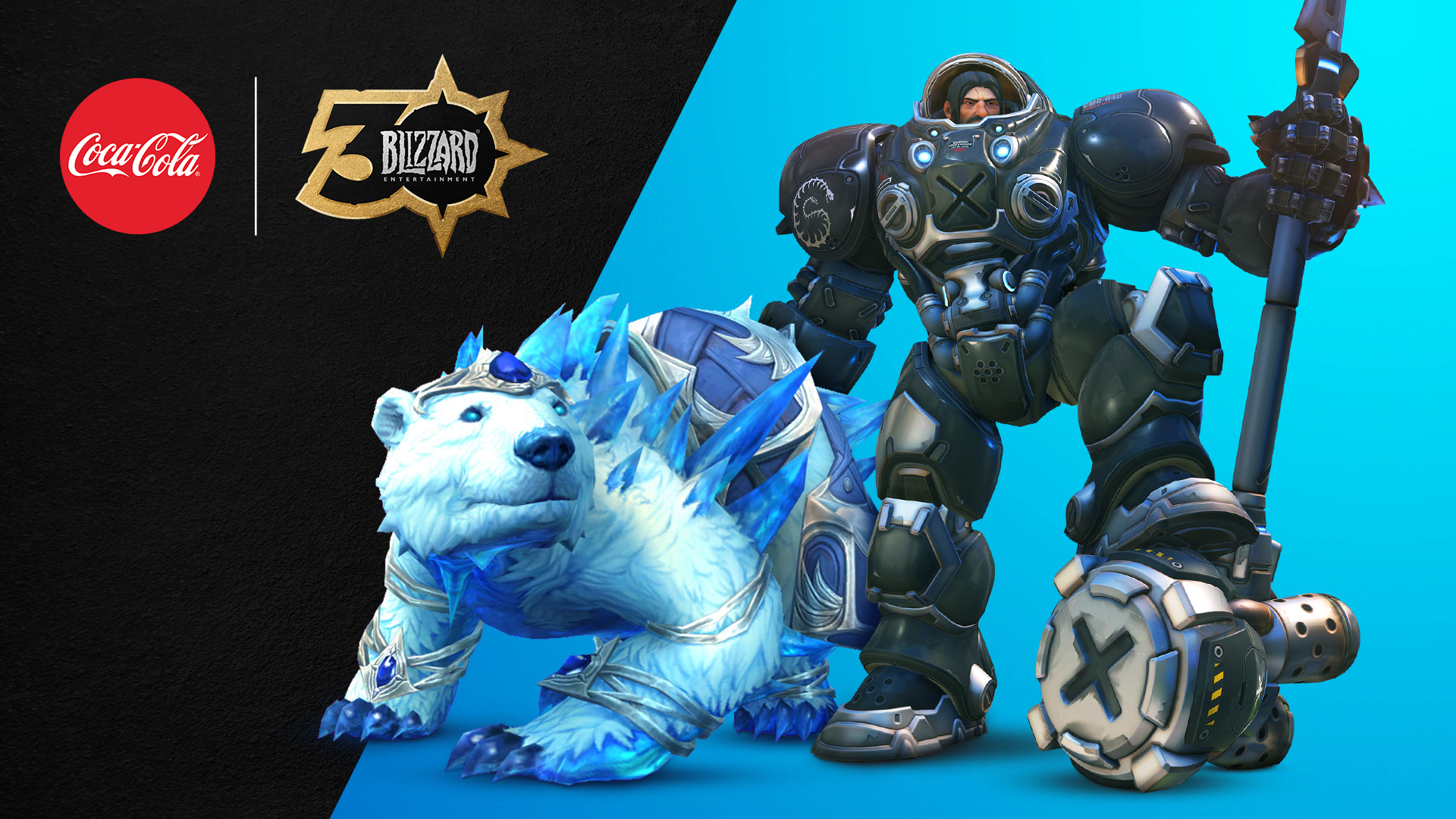Coca-Cola logo and Blizzard Entertainment 30th logo with BlizzConline Scavenger hunt prize, the Celebration Collection