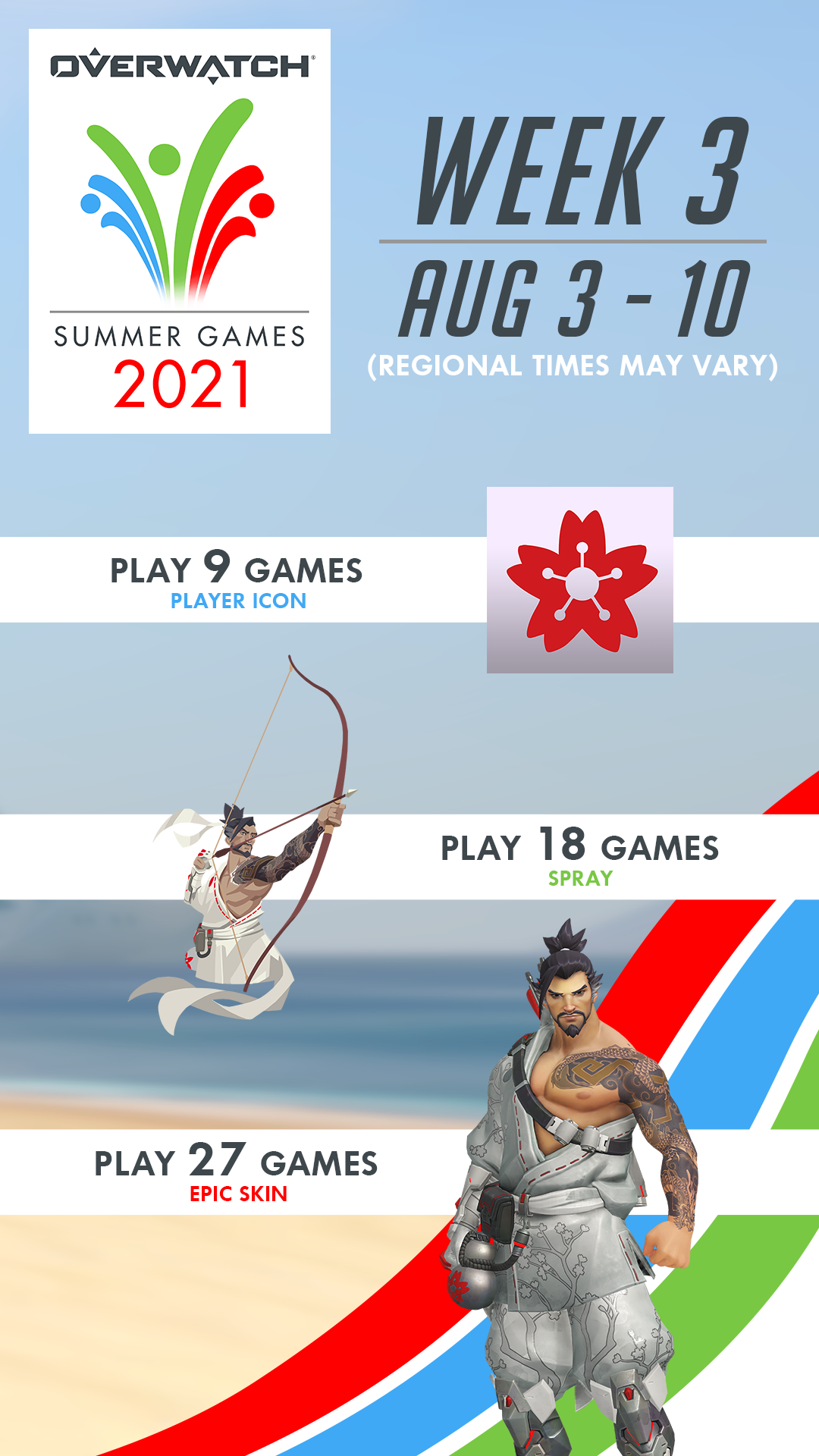 Earn Rewards for playing 9, 18, and 27 games.