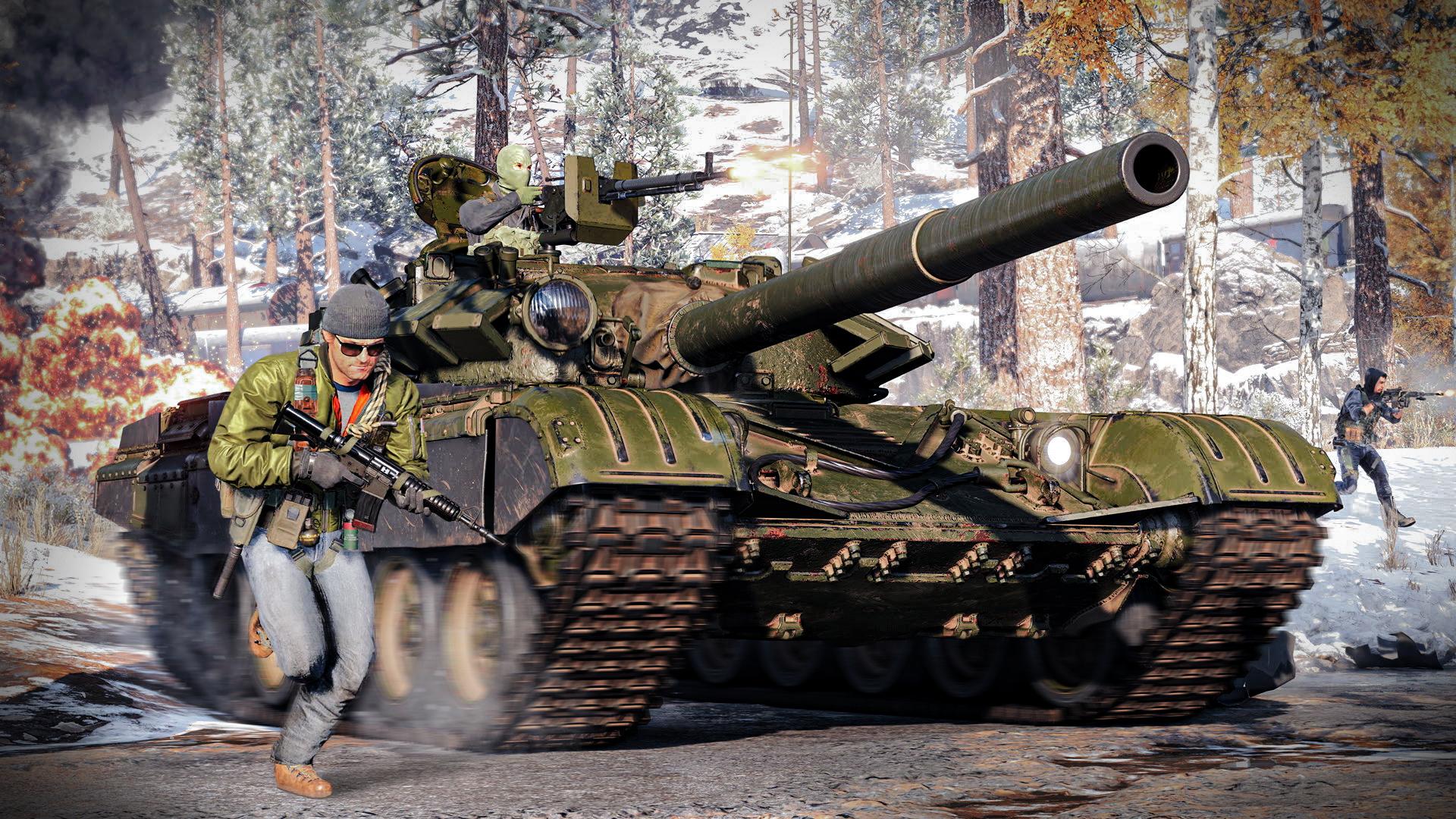 Un char assure un tir de suppression pour les troupes au sol