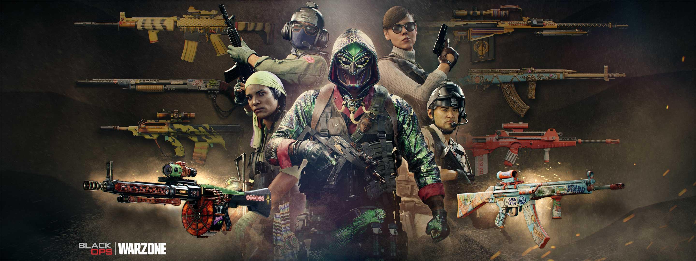 Fünf Operator vor einem Hintergrund aus verschiedenen kosmetisch aufgewerteten Waffen