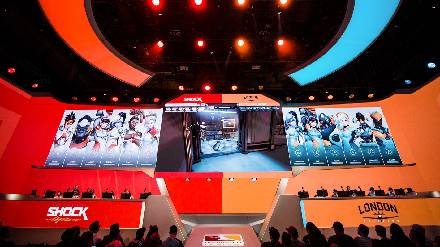 The Overwatch League stage in Burbank during preseason