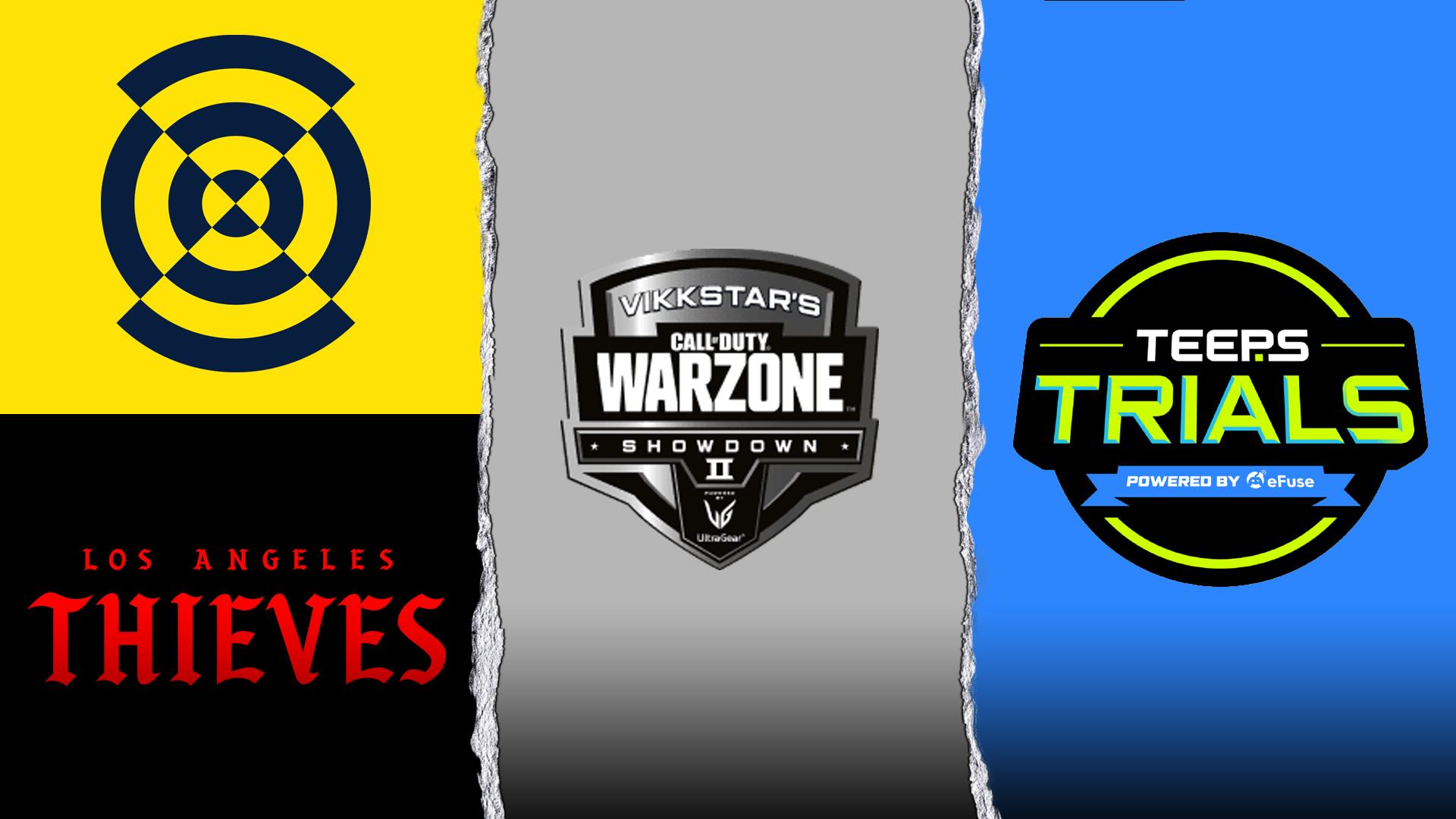 NY Warzonemania II logo, Los Angeles Thieves text, Vikkstar's COD: Warzone Showdown II logo, and TeeP's Trials logo