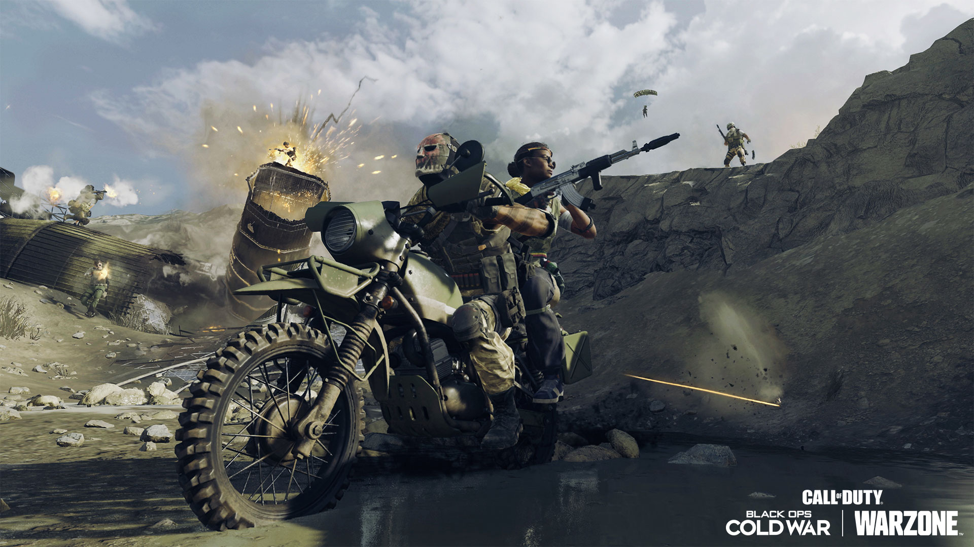 Two people riding a dirt bike while armed with a rocket launcher