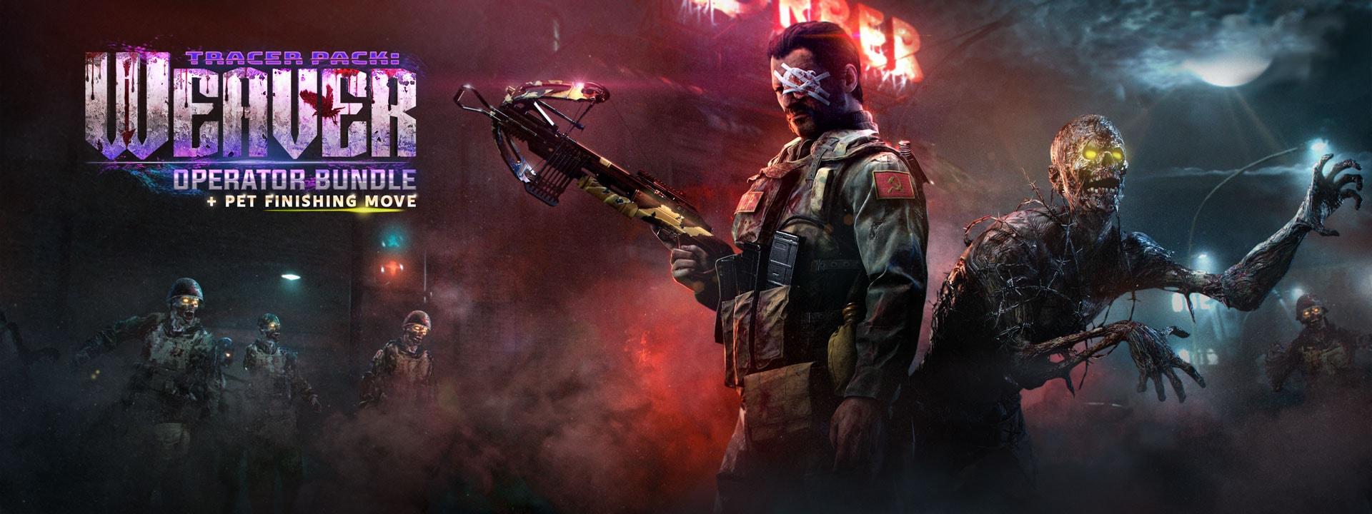 Mann mit bandagiertem Auge hält eine Armbrust neben einem Zombie