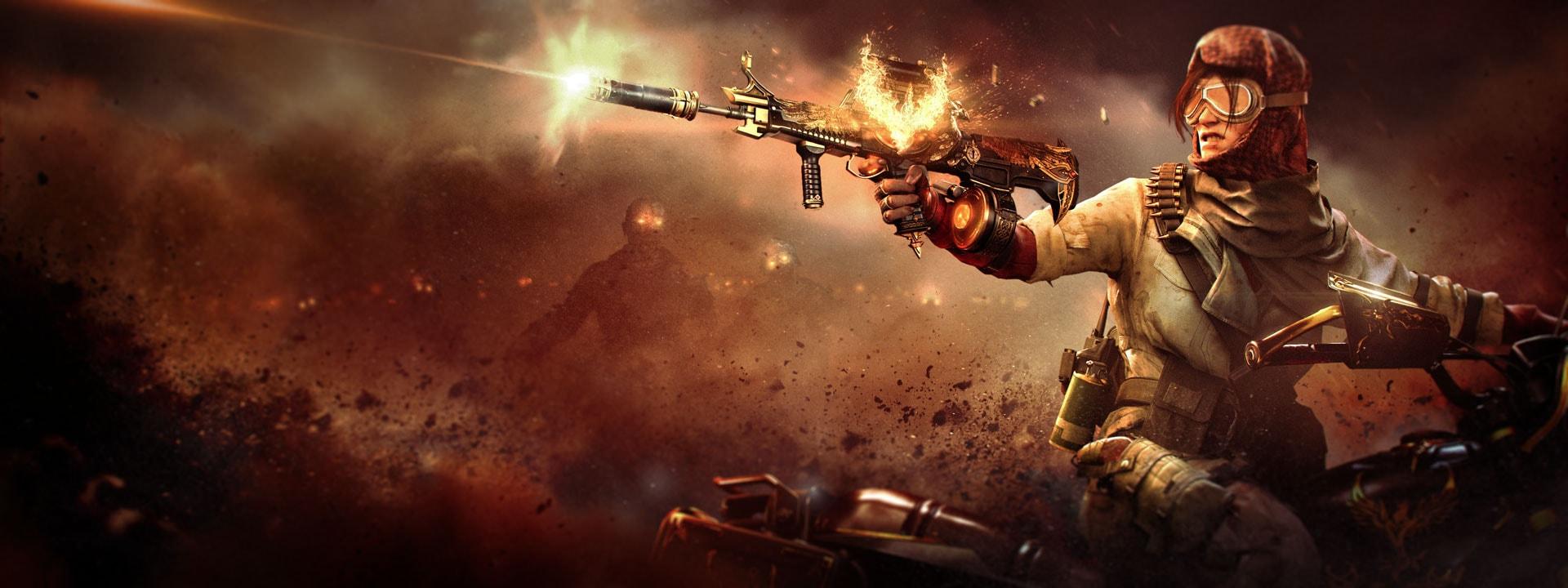 Frau, die eine brennende Waffe abfeuert, während sich ein Zombie von hinten nähert