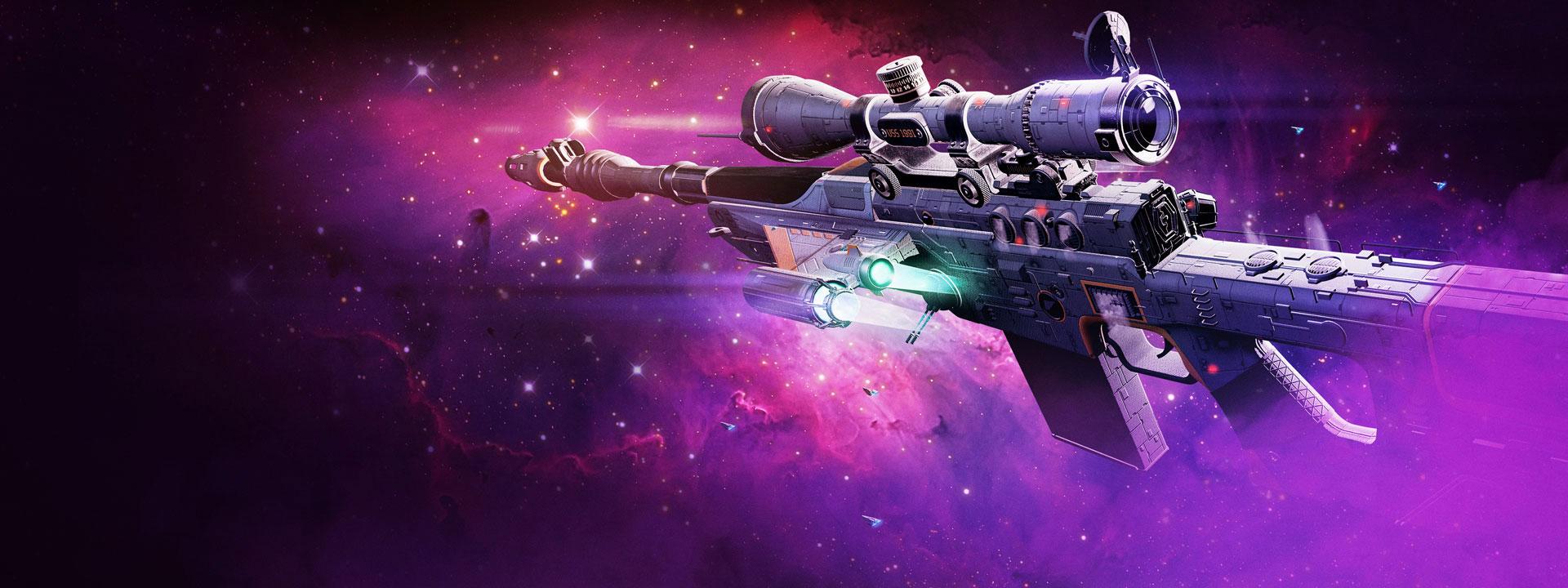 Scharfschützengewehr mit galaktischem Hintergrund