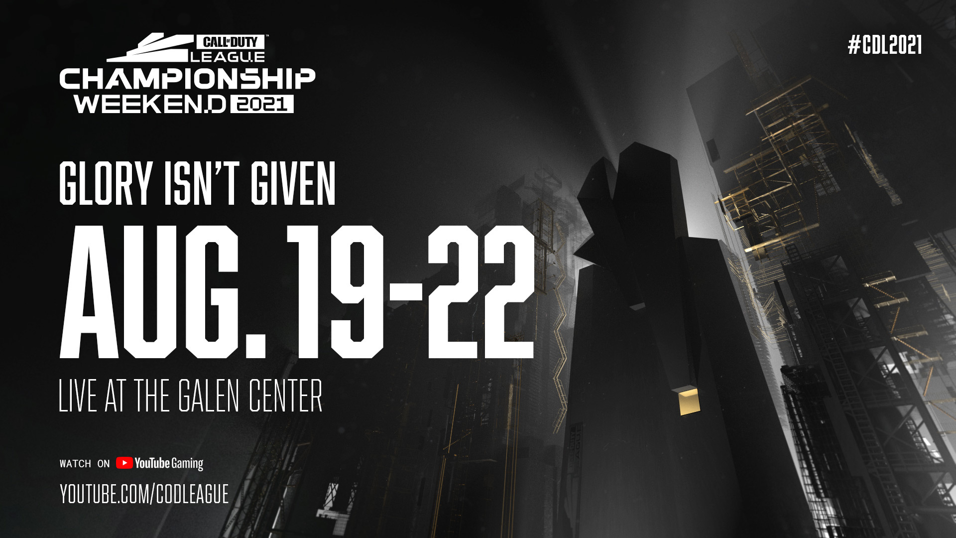 """Text reading """"Glory isn't given. Aug. 19 - 22. Live at the Gallen Center."""""""