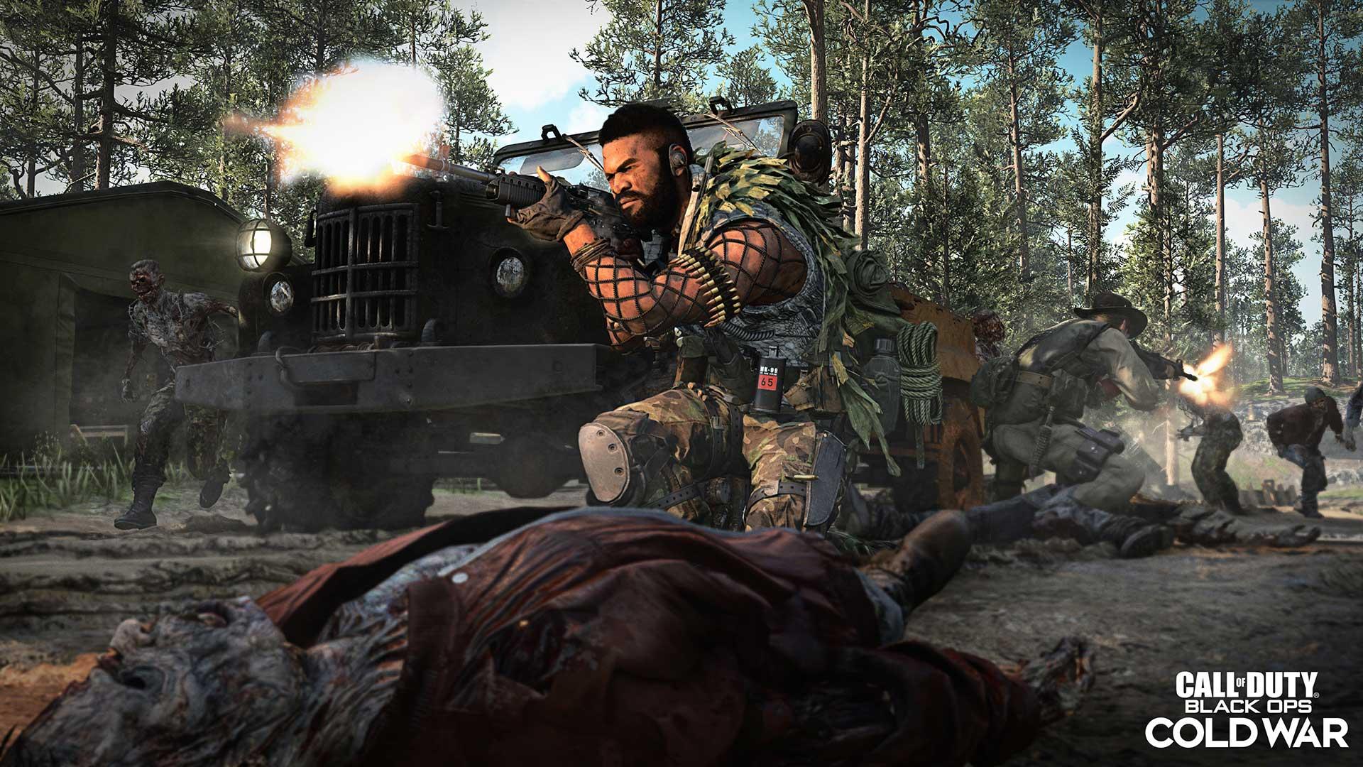 operator shooting zombies