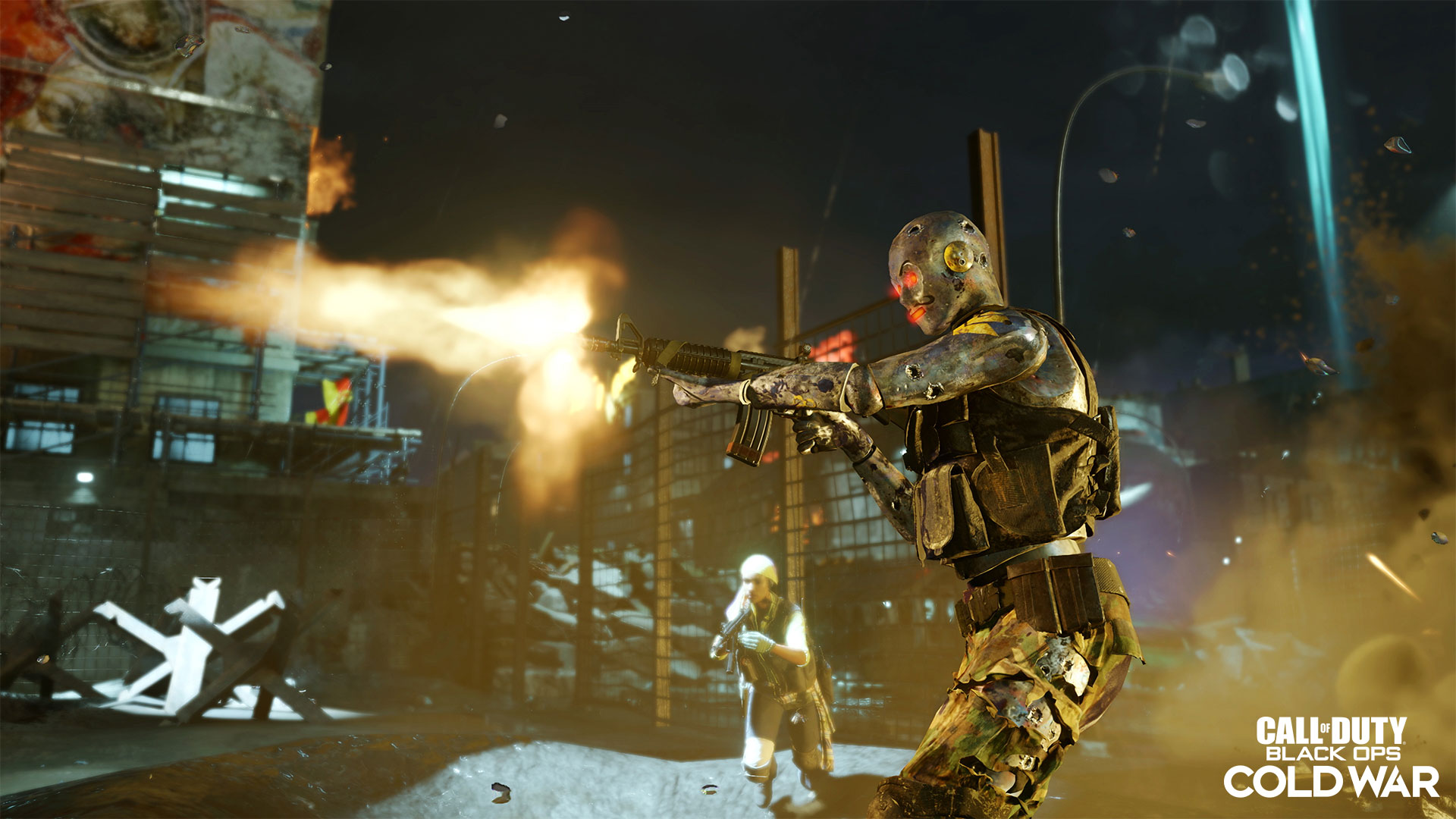 Robot dummy shooting at zombies
