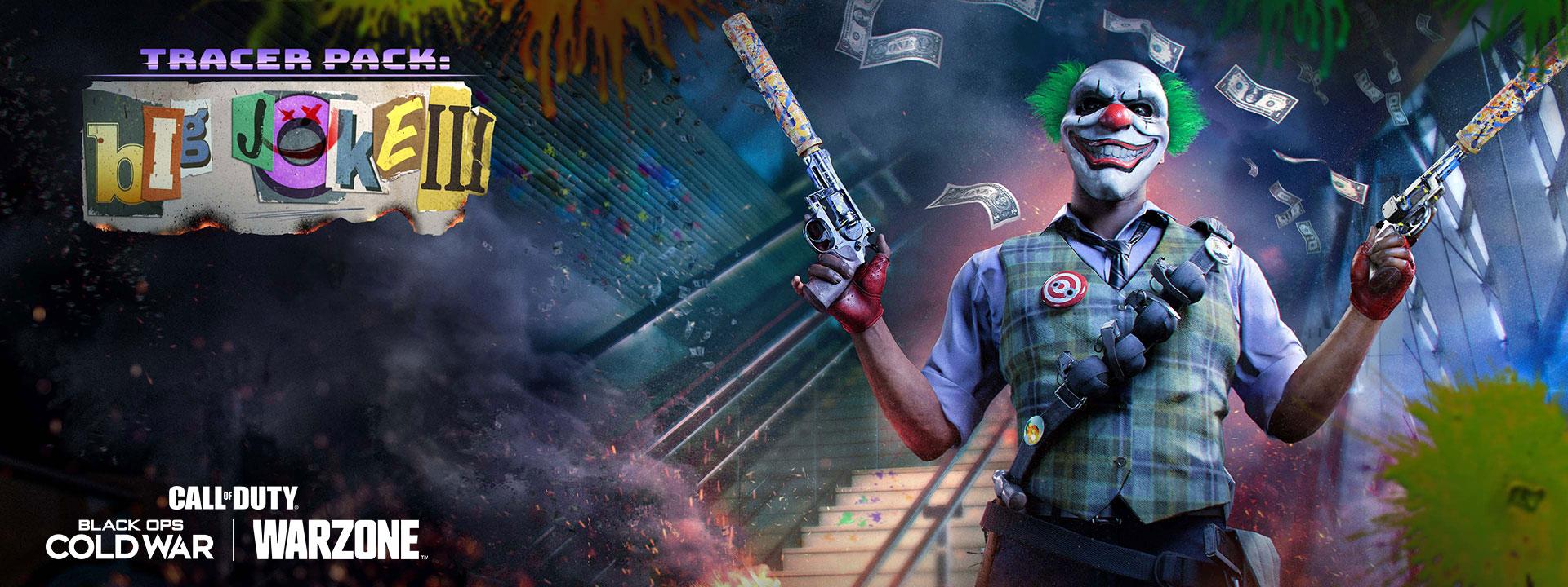 Man with clown mask dual wields guns as money floats down around him