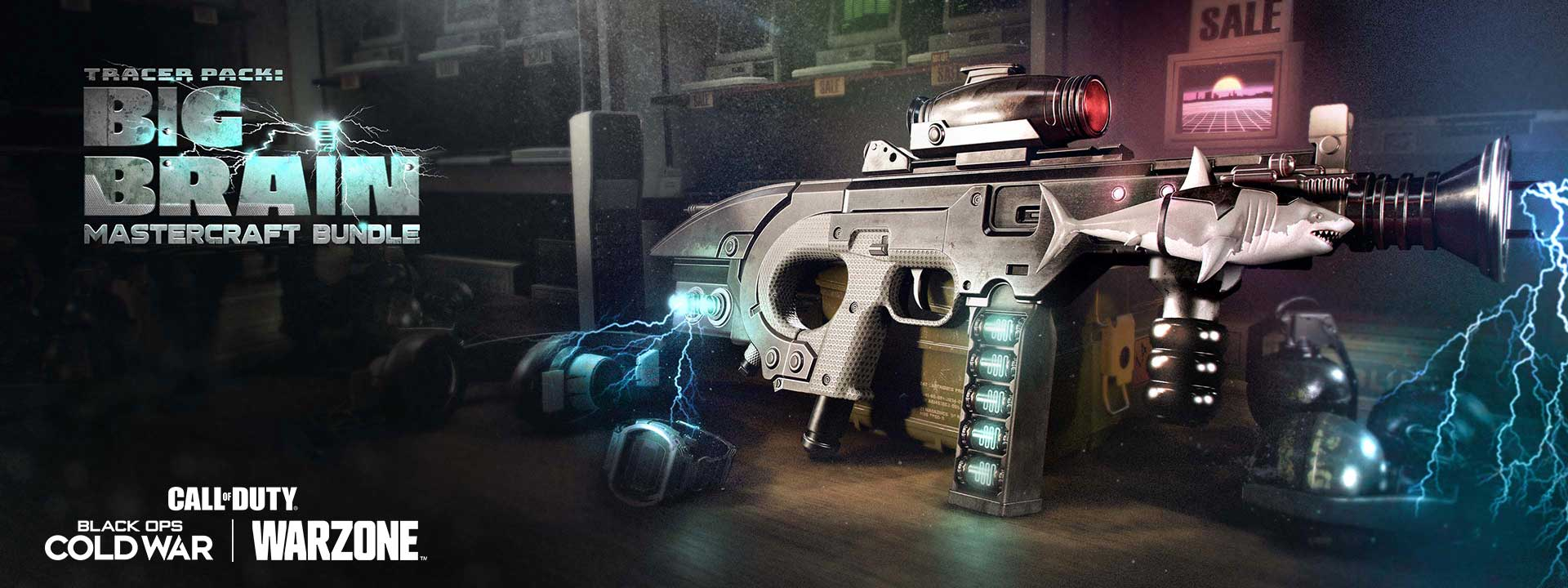 Gun with shark design that has electricity surrounding it