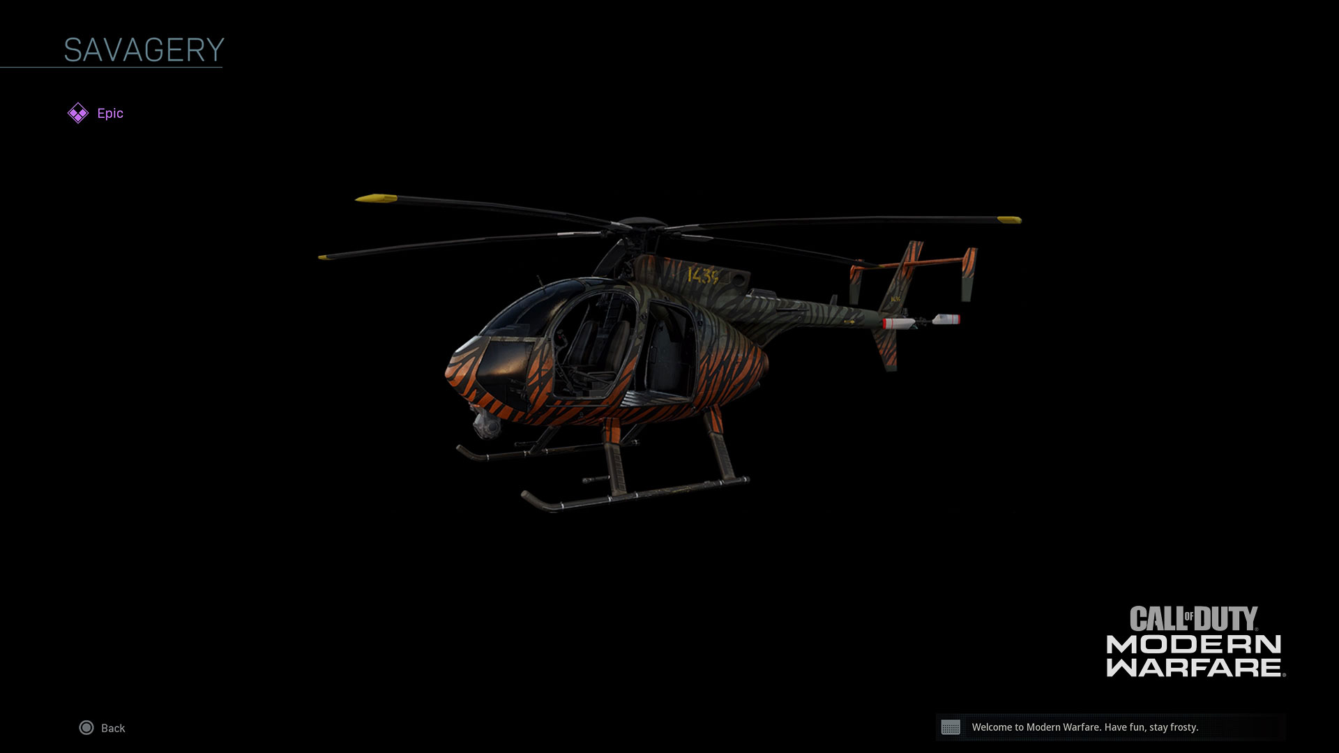 Tiger stripped helicopter